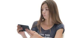 Belle fille avec le téléphone image libre de droits
