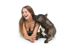 Belle fille avec le terrier gris de stafford Images stock