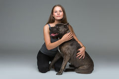 Belle fille avec le terrier gris de stafford Images stock