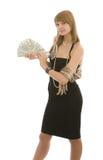 Belle fille avec le ventilateur des dollars photographie stock libre de droits