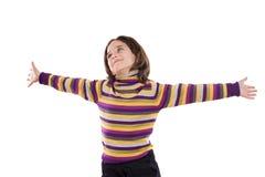 Belle fille avec les bras tendus Images libres de droits