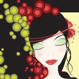 Belle fille avec les cercles colorés illustration de vecteur