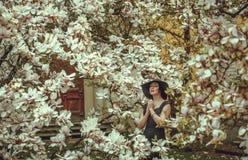 Belle fille avec les cheveux noirs dans une robe noire sur un fond d'une fleur de magnolia Image stock