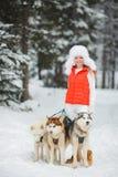 Belle fille avec un chien de traîneau sibérien dans la neige Image stock