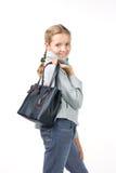 Belle fille avec un sac Images libres de droits