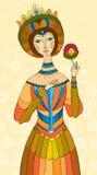Belle fille avec une fleur illustration de vecteur