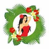 Belle fille avec une fleur dans ses cheveux Illustration Libre de Droits