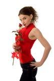 Belle fille avec une rose Images libres de droits