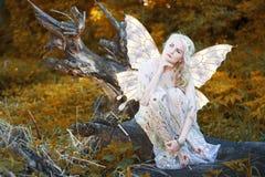 Belle fille blonde avec des arbres, robe blanche Photographie stock libre de droits