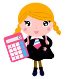 Belle fille blonde d'école avec la calculatrice Images stock