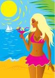 Belle fille blonde dans le bikini Photos stock