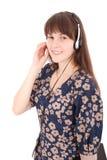 Belle fille d'étudiant d'opérateur de service client avec le casque Photographie stock libre de droits