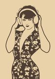 Belle fille d'aileron avec des écouteurs d'isolement Rétro type illustration libre de droits