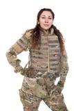 Belle fille d'armée avec le fusil Image stock