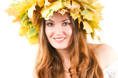 Belle fille d'automne sur le fond blanc photo stock