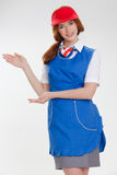 Belle fille dans des uniformes bleus Images libres de droits