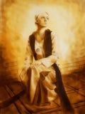 Belle fille dans l'habillement historique entouré par la lumière, graphique de la peinture originale illustration stock