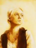 Belle fille dans l'habillement historique entouré par la lumière, graphique de la peinture originale illustration libre de droits