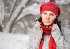 Belle fille dans la forêt de l'hiver Image stock