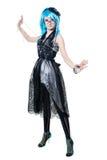 Belle fille dans la robe noire Photo stock