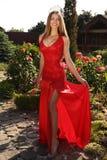 Belle fille dans la robe rouge élégante et la couronne luxueuse Photo libre de droits