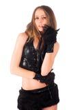 Belle fille dans le costume de chat photo stock