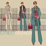 Belle fille dans le manteau bleu Ensemble d'options Illustration de mode Photographie stock libre de droits