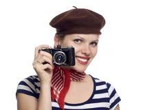 Belle fille dans le regard classique du Français 60s Image libre de droits
