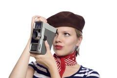 Belle fille dans le regard classique du Français 60s Photo libre de droits