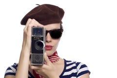 Belle fille dans le regard classique du Français 60s Images libres de droits