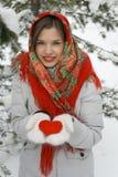 Belle fille dans un châle rouge Photographie stock