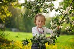 Belle fille dans un champ de pommiers de floraison images libres de droits