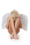 Belle fille dans un procès d'un ange blanc Photographie stock libre de droits