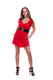 Belle fille dans une robe rouge Image libre de droits