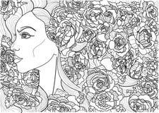 Belle fille de coloration en fleurs de texture Photographie stock