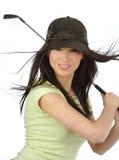 Belle fille de golfeur, photo stock