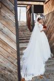 Belle fille de jeune mariée de brune près des murs en bois image stock