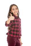 Belle fille de l'adolescence d'une chevelure foncée montrant le geste de Images libres de droits