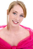 Belle fille de l'adolescence dans formel rose Photo stock