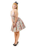 Belle fille de pin-up avec une robe colorée photos libres de droits