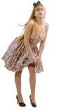 Belle fille de pin-up avec une robe colorée Image libre de droits