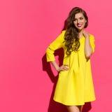 Belle fille de sourire et espace rose de copie Photos stock
