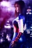Belle fille de superhéros Images stock