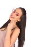 Belle fille de valentines avec le coeur dans des ses mains Photo stock