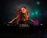 Belle fille du DJ Images libres de droits