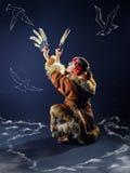 Belle fille du nord Danse rituelle de la mouette Photos libres de droits
