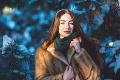 Belle fille en forêt de l'hiver Photographie stock libre de droits