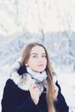 Belle fille en hiver photo stock