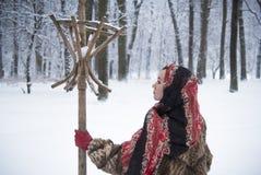Belle fille en parc en hiver, fille dans un manteau de fourrure Image stock