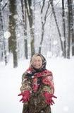 Belle fille en parc en hiver, fille dans un manteau de fourrure Photographie stock libre de droits